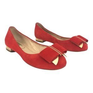 Louise et Cie Red Suede Bow Erica Ballet Flat
